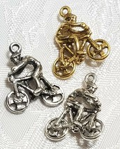BICYCLE AND CYCLIST FINE PEWTER PENDANT CHARM 17mm L x 21mm W x 6.5mm D