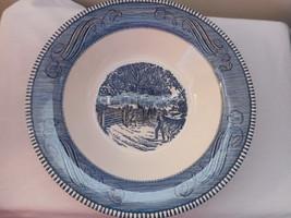 "Currier & Ives Royal China blue white 10"" vegetable bowl - $32.66"