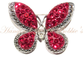 Butterfly Pin Brooch Red Crystal Silver Tone Metal Spring Summer Theme - $19.99