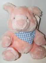 Plush Russ Berrie plush Pink Pickles the pig seated blue gingham checked... - $10.41