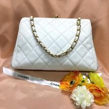 Vintage CHANEL Authentic Matelasse White Caviar skin Chain Shoulder Bag ... - $915.75