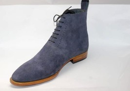 Handmade Men's Blue Suede Two Tone High Ankle Lace Up Boots image 6
