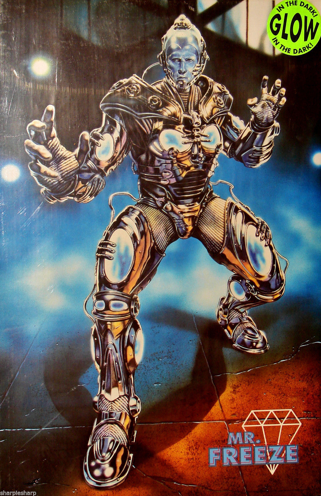 "1997 BATMAN & ROBIN Movie MR. FREEZE GLOW IN THE DARK POSTER 23x34.5"" 30-007 4"