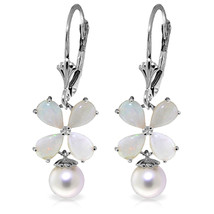 6 Carat 14K Solid White Gold Leverback Earrings Opal pearl - $463.23