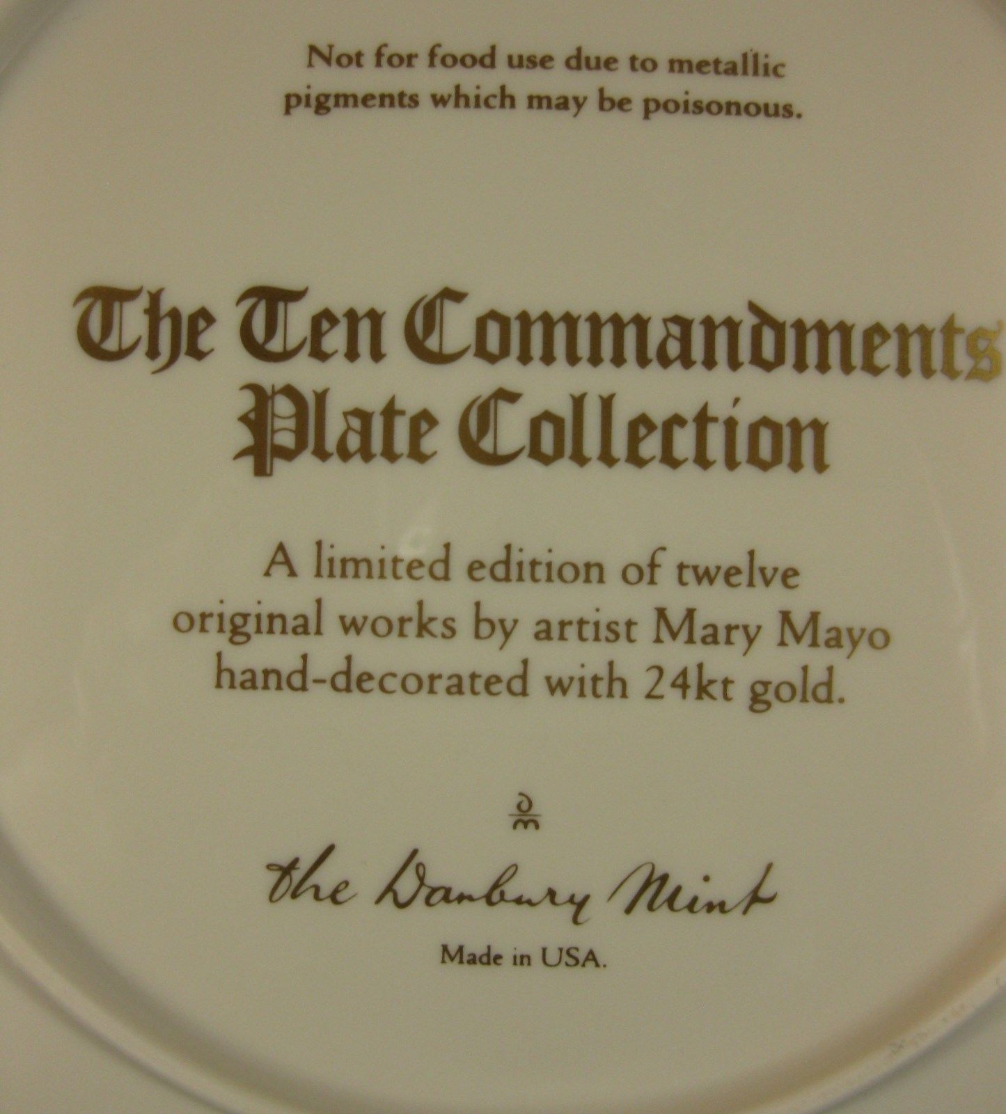 Keep Holy The Lords Day Collector Plate Ten Commandments Mary Mayo Danbury Mint image 4