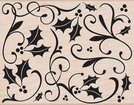 Hero Arts Wood-Mounted Rubber Stamp: Holly Flourish