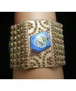 HUGE Persian Enamel Bracelet Tribal etruscan chain maille Hand wrought f... - $425.00