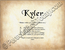 Kyler Hidden Within Your Name Is A Special Story Letter Poem  8.5 x 11 P... - $8.95