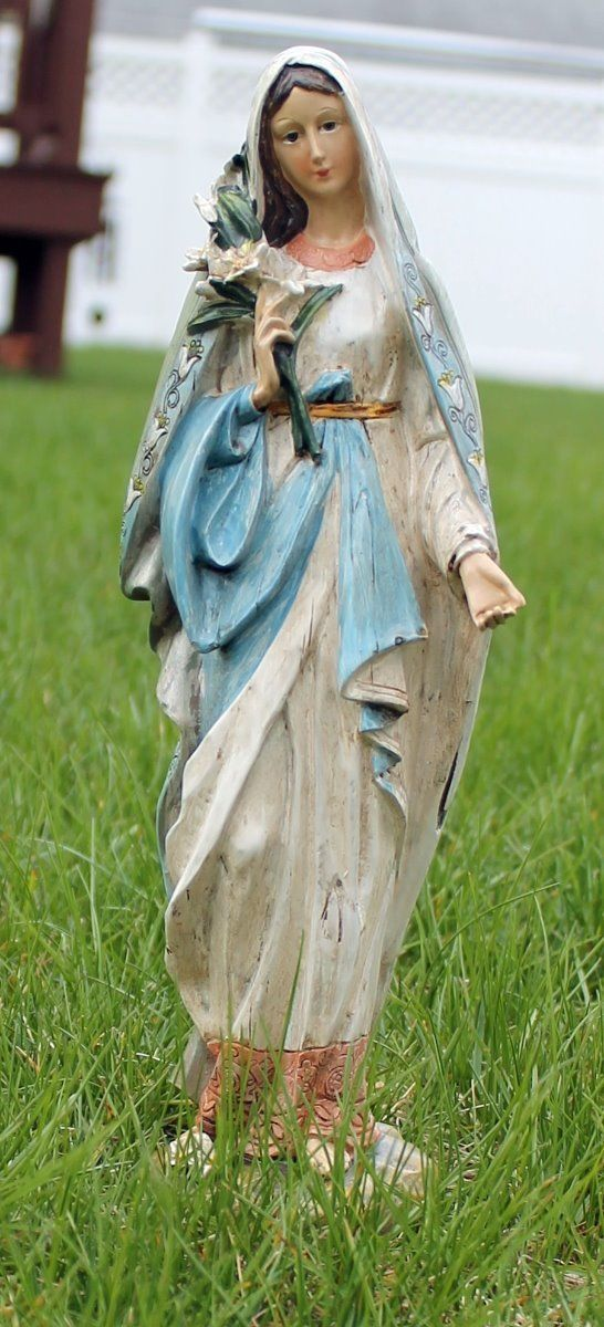 Madonna Lilies Blessed Virgin Mary Mother Garden Statue Statues Figures
