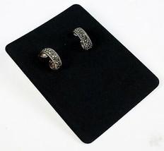 Vintage .925 Sterling Silver 4.7g Semi Hooped Twist Glittery Designer Ea... - $13.81