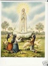 "Catholic Print Picture Mary OL Fatima w/3 children 8x10"" ready to be framed - $14.01"