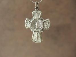 Vintage Catholic medal 5 way Cruciform silver finish metal 30mm - $14.95