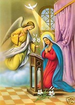 """Catholic Print Picture The ANNUNCIATION Mary Gabriel 7 1/2 x 10"""" ready t... - $14.01"""