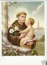 """Catholic Print ST. ANTHONY w/ Jesus touching his face 8x10"""" Ready to be ... - $14.01"""
