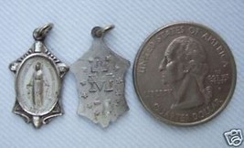 Vintage Catholic Medal  Virgin Mary / Miraculous Silver finish metal - NICE! - $14.95
