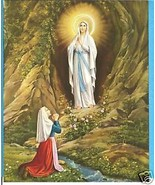 "Catholic Print Picture Our Lady of LOURDES Mary Bernadette 8x10"" ready t... - $14.01"