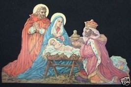 Antique vintage Nativity Christmas Picture die cut stand up Jesus Mary Joseph - $13.09