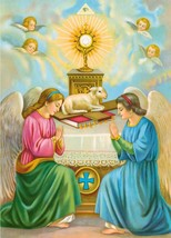 Catholic Print Picture ANGELS ADORING MONSTRANCE Altar - ready to frame ... - $14.01