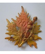 Vtg Maple Leaf Berries Brooch Pin Real Dipped Multi Color Gold Copper - $24.72