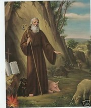 """Catholic Print Picture ST. ANTHONY the ABBOT w/  Animals 8x10"""" from Italy - $14.01"""