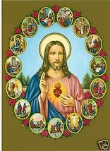 Catholic Print Picture LIFE OF OUR LORD Sacred Heart ready to be framed ... - $14.01