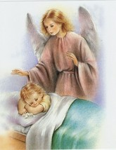 """Catholic Print Picture Guardian Angel Sleeping Child 8x10"""" Italy Ready t... - $14.01"""