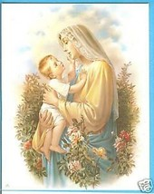 """Catholic Print Picture Mary & Baby Jesus w/ Roses art SIMEONE 8x10"""" from... - $14.01"""