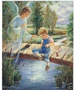 "Catholic Print Picture GUARDIAN ANGEL w little BOY fishing Religious 8x10"" - $14.01"