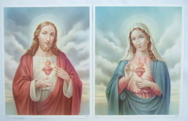 "Catholic Picture Print SET Sacred Heart of Jesus & Mary 8x10"" printed in Germany - $23.36"
