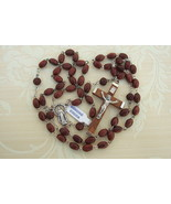 Catholic Rosary GENUINE COCOA Wood DK BROWN 5x7mm beads Miraculous Medal... - $25.25