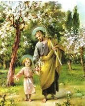 "Catholic Print Picture St. Joseph walking w/ Jesus 8x10"" ready to be framed - $14.01"