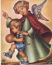 """Catholic Print Picture Religious GUARDIAN ANGEL w/ BOY 8x10"""" ready to be... - $14.01"""