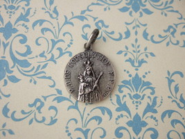 Vintage Catholic Medal Our Lady Of Consolation Virgin Mary Jesus Signed France - $13.09