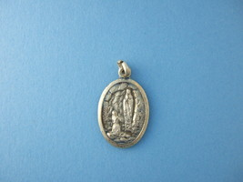 Vintage Catholic Medal ST. BERNADETTE and Our Lady  Lourdes silver finish 26mm - $13.09