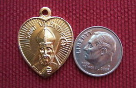 Catholic Medal ST. VALENTINE Heart Shaped nice Gold finish aluminum - $9.48