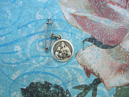 Antique Vintage First Holy Communion Catholic Medal Lapel Pin silver finish - $11.29