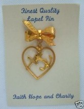 Vintage Catholic LAPEL PIN Faith Hope Charity religious medals Brooch gold finis - $12.19