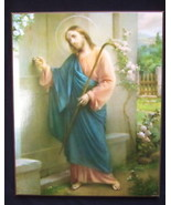 "Catholic Wood Plaque JESUS KNOCKING at DOOR picture by artist SIMEONE 8x10"" - $21.49"