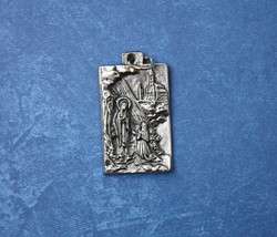 Catholic Medal of Virgin Mary Our Lady of Lourdes & St. Bernadette silver finish - $11.29