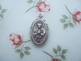 Catholic Medal Sacred Heart Of Jesus Scapular 28x16mm Silver Finish Italy - $10.39