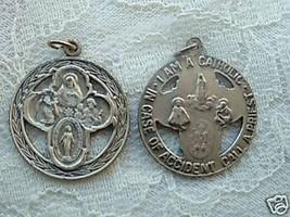 Vintage Catholic Medal Round Cutout 4 way multi image  Cruciform 24mm silvertone - $14.01