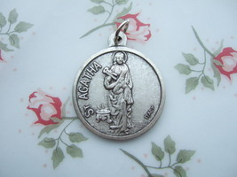Catholic Medal ST. AGATHA Patron Breast Cancer 27mm silver finish metal - $10.39