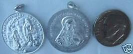 Vintage Antique Catholic Medal St. Margaret Mary & Sacred Heart of Jesus - alum - $9.50