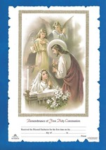 FIRST HOLY COMMUNION Certificate Jesus with GIRL & angels Catholic pictu... - $12.19
