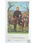 VINTAGE CATHOLIC HOLY CARD St. John Bosco with school children picture - $9.49