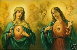 Catholic Print Picture SACRED HEART JESUS and MARY - ready to frame - $14.01