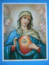 Catholic Print Picture IMMACULATE HEART OF MARY angels by Morgari large ... - $18.69