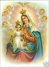 Catholic Print Picture Mary Jesus w/ Scapular Mt.Carmel ready to be framed - $14.01
