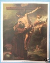 Catholic Print Picture Large VISION of ST. FRANCIS Assisi 13x17 Italy Fr... - $21.49