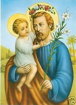 Catholic Print Picture ST. JOSEPH Jesus Crown of Roses Ready to be framed - $14.01